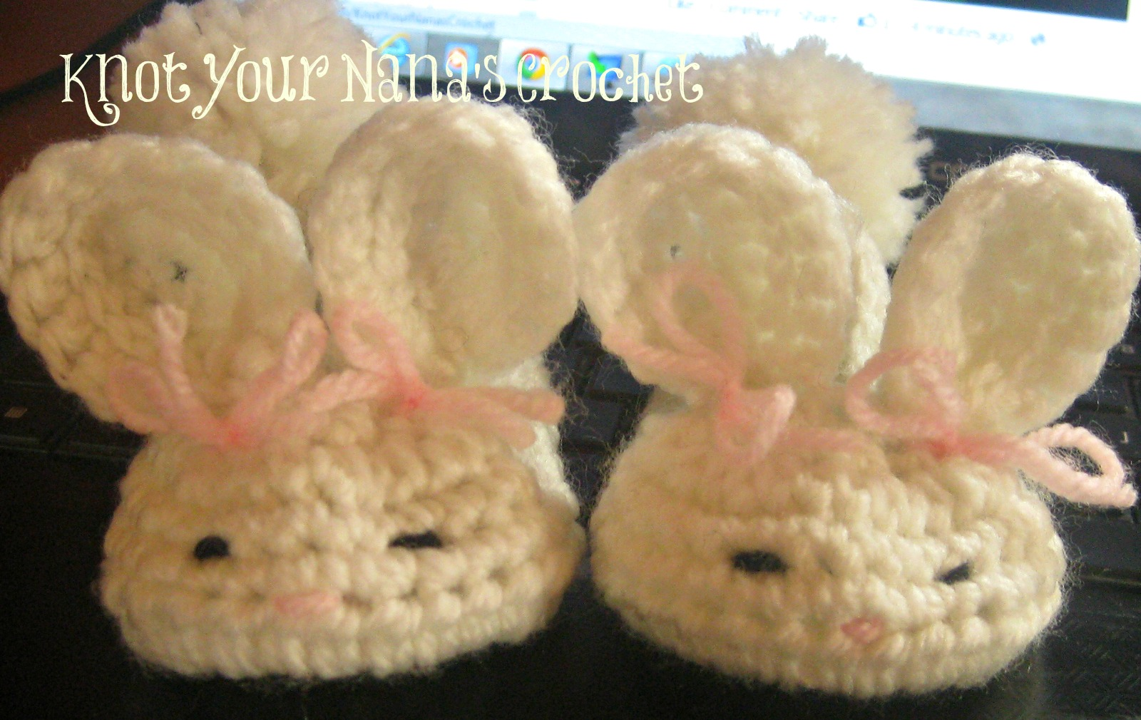Free Crochet Pattern For Bunny Slippers : Knot Your Nanas Crochet: Bunny Slippers