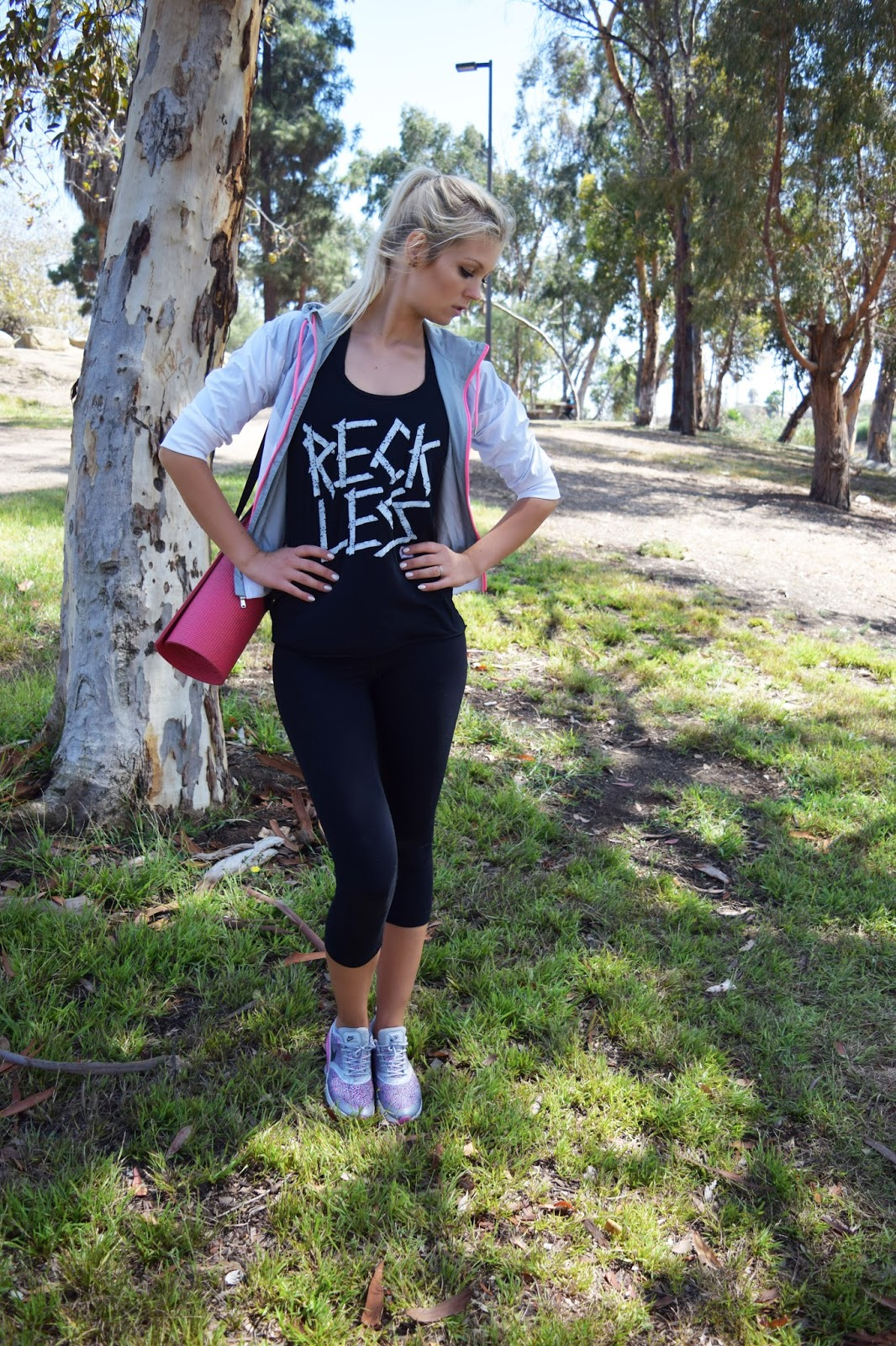 workout outfit, nike, nike jacket, grey, pink, yoga pants, young and reckless tank top