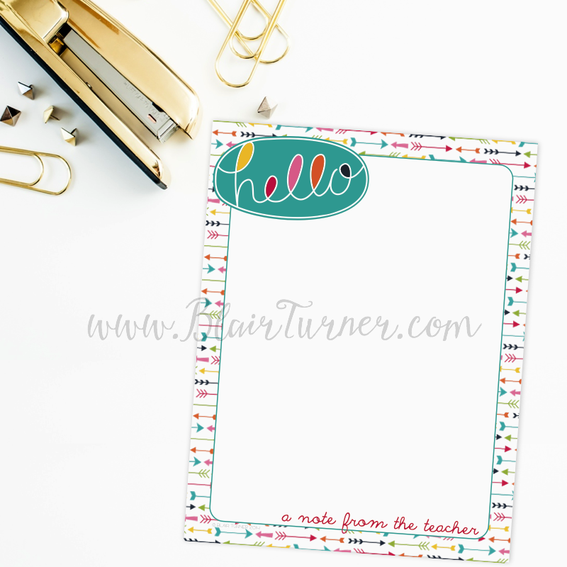 Hello (A Note from the Teacher) Notepads