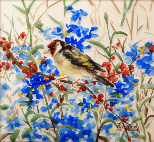 Beautiful Original Watercolor Painting Birds and Garden Available for Purchase