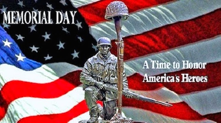 Memorial Day is Sunday.   To all those who have fought for our freedom, past and present....THANK YOU.   Let's show our thanks and gratitude for all those brave men and women.   May you all have a blessed, safe Memorial Day.