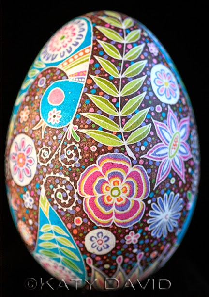 Friday Egg: Blue Bird Swirl, ©Katy David, Goose Egg Pysanky