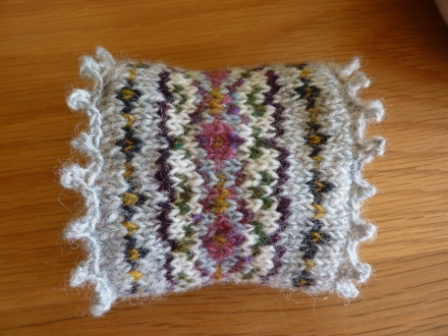 Yellow, Pink and Sparkly: Fair Isle Wrist Warmers