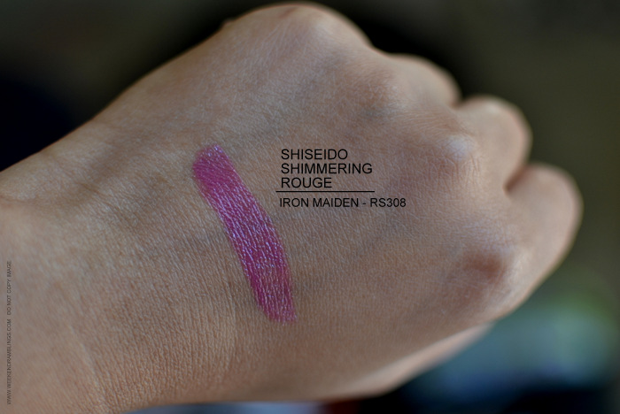 Shiseido RS308 Iron Maiden Shimmering Rouge Lipstick Swatches Indian Darker Skin Makeup Beauty Blog Review