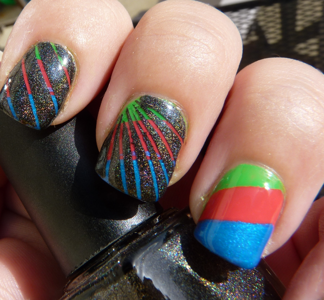 Nail Art Using Striping Tape: The Manicured Monkey: Rainbow And Nail Striping Tape Mani