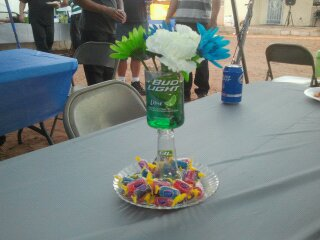 I Had Budlight Lime And Budlight Bottles For The Centerpieces. What I Did  Was Use A Technique I Found On You Tube To Cut The Bottle In Half ...