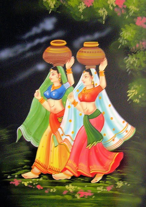 Rajasthani Girls Art Paintings 10