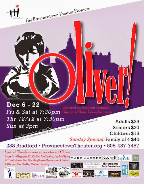 poster - The Provincetown Theater - Oliver!  Opening Night Delayed to Saturday, December 7th at 7:30pm!