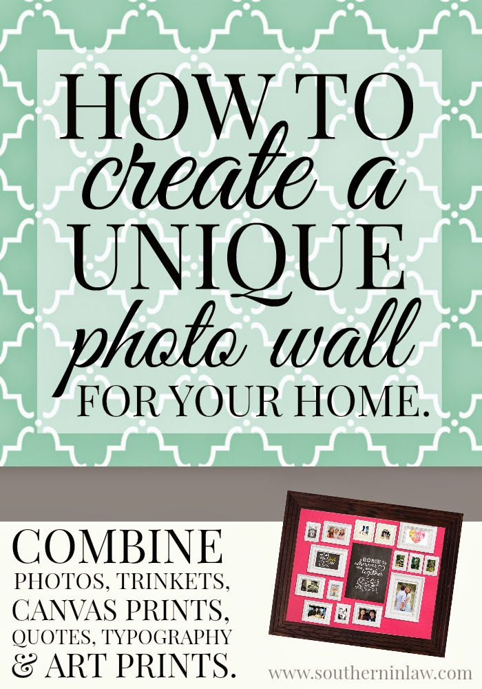 How to create a unique photo wall for your home using canvas prints, art prints, quotes, photo frames, trinkets and more
