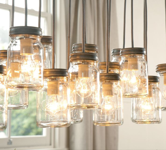 The pink chalkboard lighting made from mason jars for Hanging lights made from mason jars