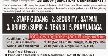 Lowongan Kerja Besar-Besaran JM GROUP Tingkat SLTA/SMK ...