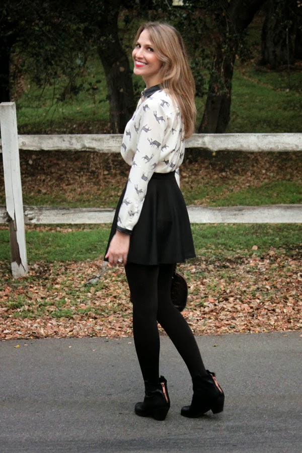 Holiday look: Zara reindeer blouse, skirt & ankle booties