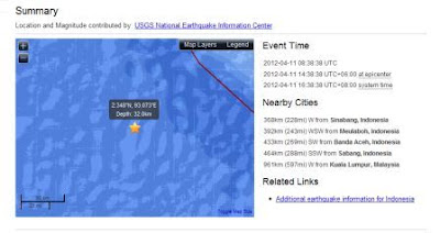 Gempa bumi di sumatera, gegar barat semenanjung
