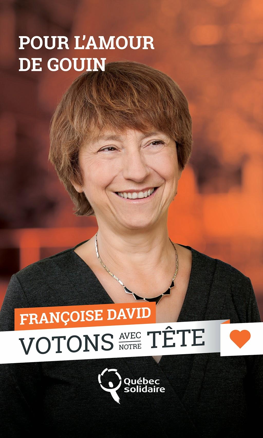 Françoise David - Co-porte-parole de Québec Solidaire, QS, 2014, campagne électorale, provinciale