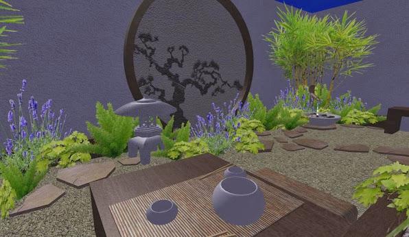foto render5 - diseno jardines online patio oriental japones - linterna - noche