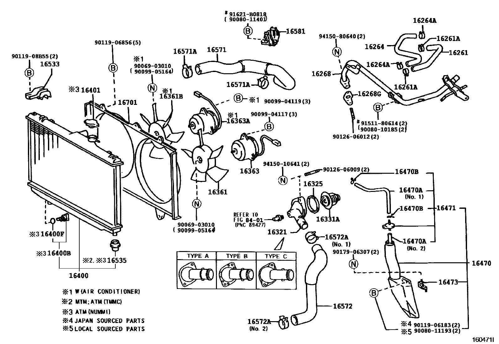 Corolla    DIY  1998    Toyota       Corolla    VE 1ZZFE ZZE110 Radiator and Water Outlet    Parts    Exploded    Diagram