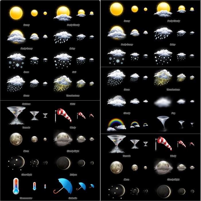 ايقونات احوال الطقس متنوعة بصيغة PSD