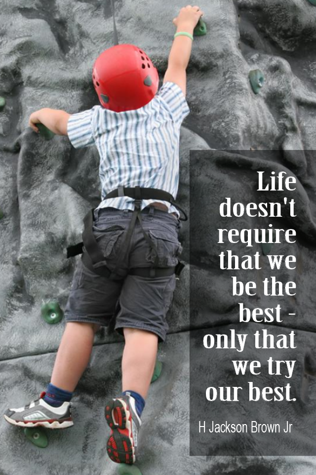 visual quote - image quotation for LIFE - Life doesn't require that we be the best - only that we try our best. - H Jackson Brown Jr