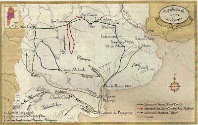 Mapa de la campaña de Rosas, sin datos. Tomado de Taringa