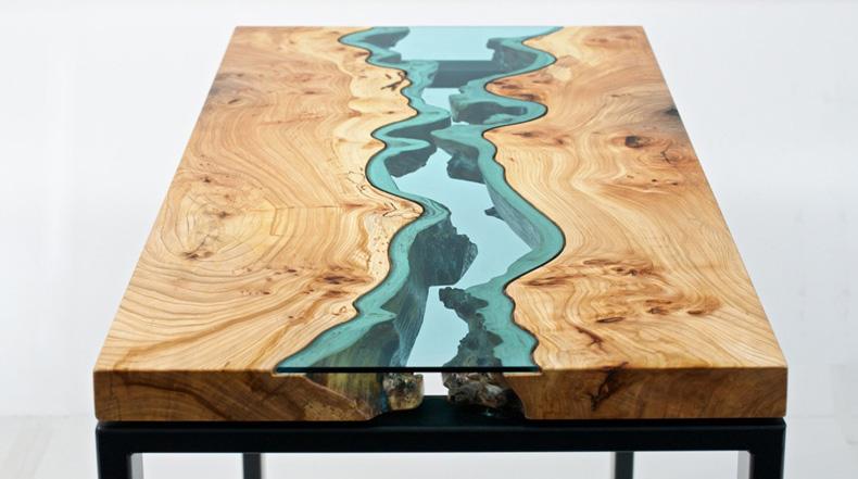 Topografía Mesas de madera incrustados con ríos y lagos de vidrio