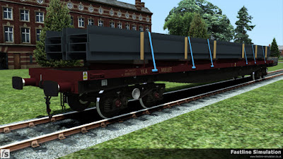 Fastline Simulation: Prior to privatisation wagons were often transferred or borrowed between the revenue and engineers fleet. Since privatisation the boundaries have all but vanished and a number of YLAs have found themselves in EWS livery and used for revenue traffic like this large I-beams.
