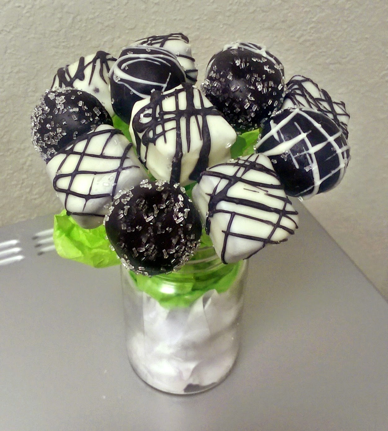 Black and White, Chocolate Drizzled Cake Ball Pops
