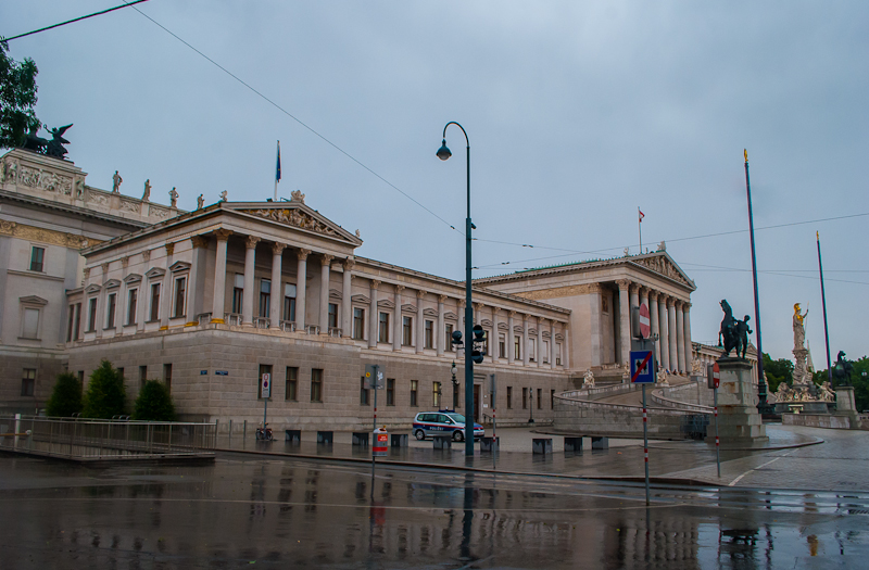 Image of the Parliament house in Vienna, Austria Exterior in the rain