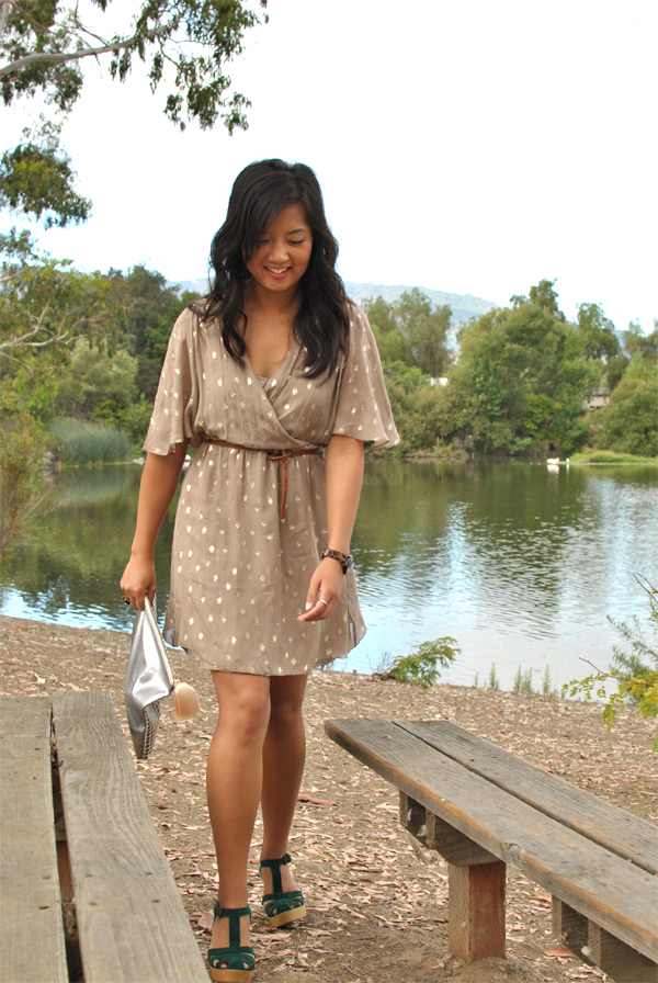 gold sparkle and silk dress