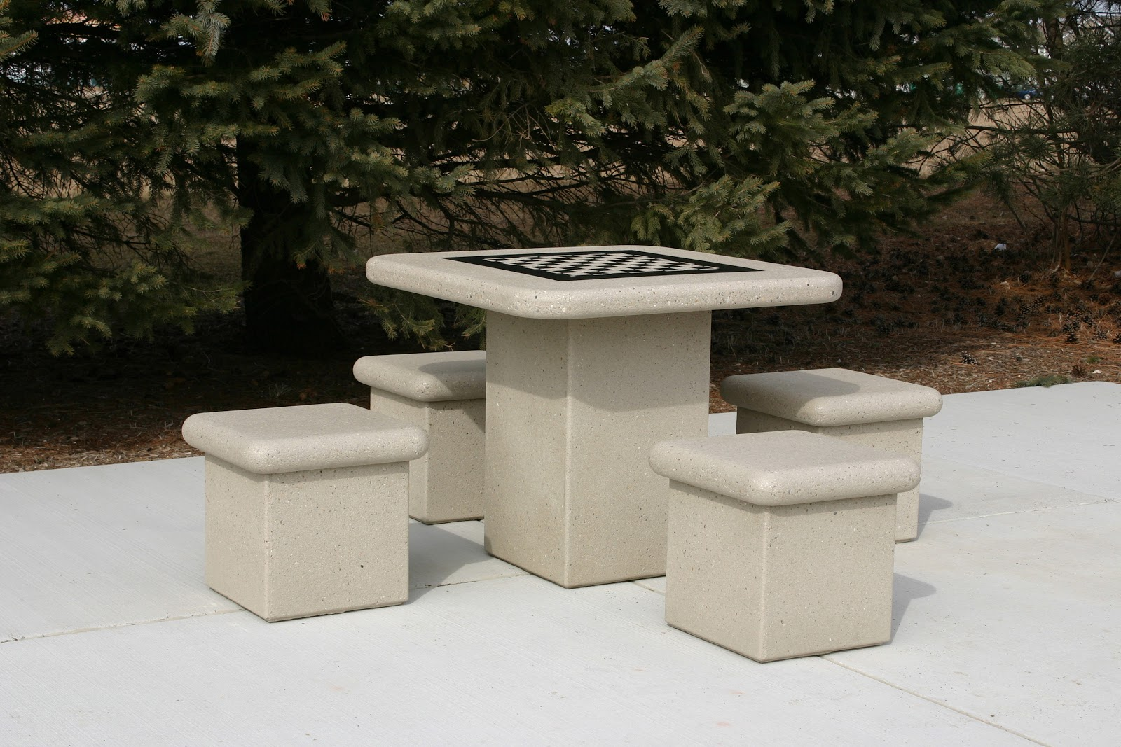 New Square Pedestal Concrete Table Set & New Square Pedestal Concrete Table Set | Doty and Sons Concrete ...