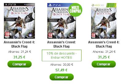 Por poco menos de 30€ tenemos el juego Assassin's Creed IV: Black Flag