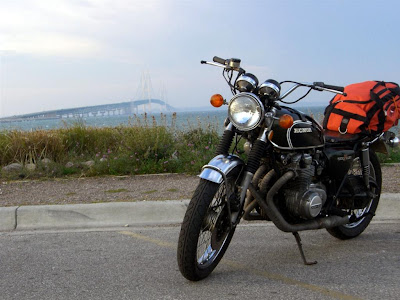 motorcycle at mackinaw bridge, michigan bike trip, ride