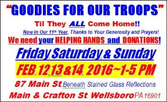 2-12/13/14 Goodies For Our Troops