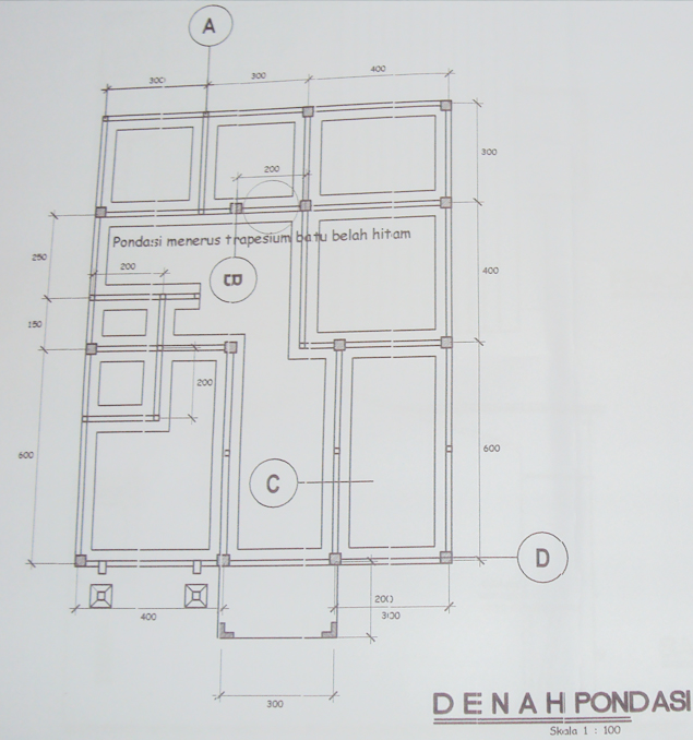 gambar detail pondasi tapak atau pondasi cakar ayam