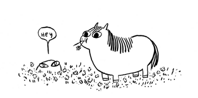 ghost in flowers says 'hey' to pony who is of course nomming them