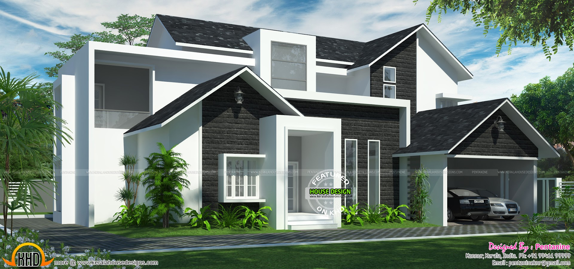 Beautiful new house plan keralahousedesigns for Western home plans