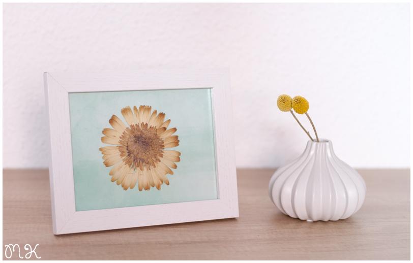 marco de fotos con flor seca