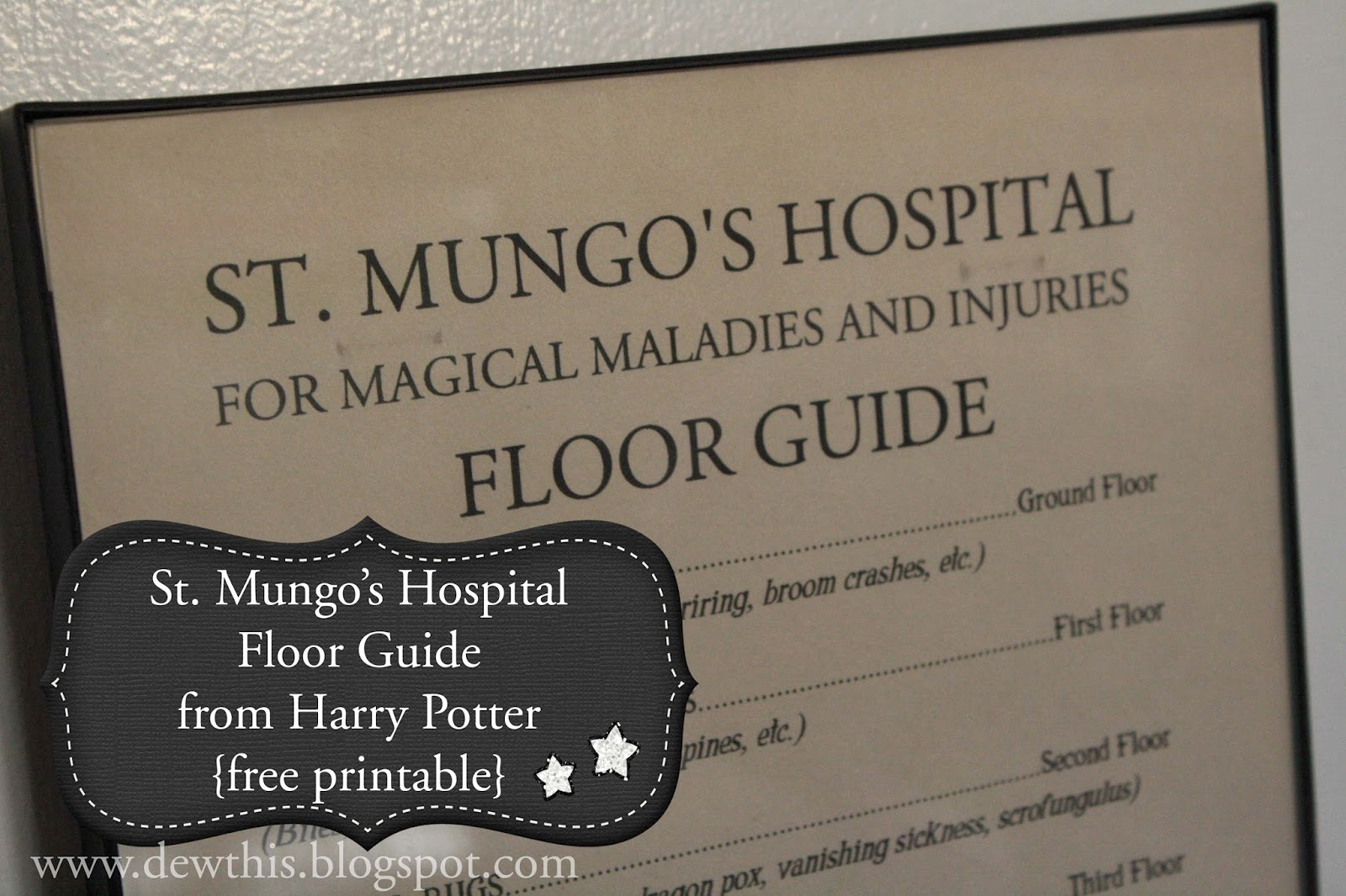 Dew THIS Harry Potter St Mungos Hospital Floor Guide
