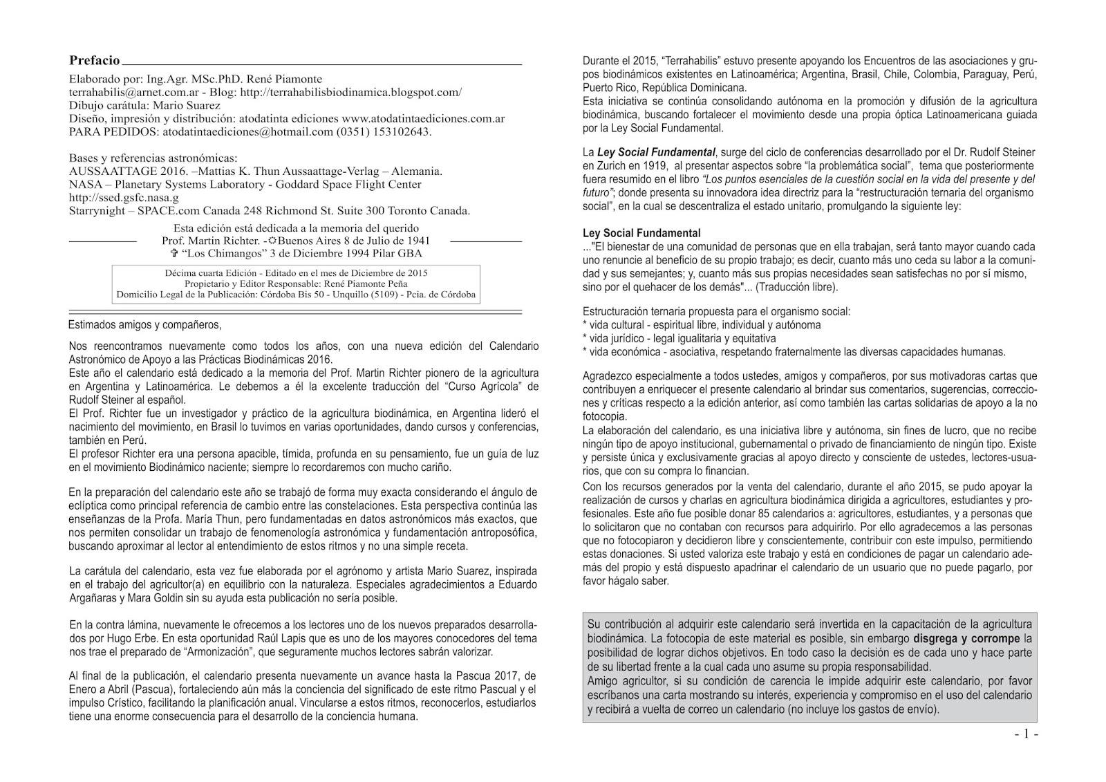 Terra habilis Biodinamica Rene Piamonte: Calendario Astronómico de ...