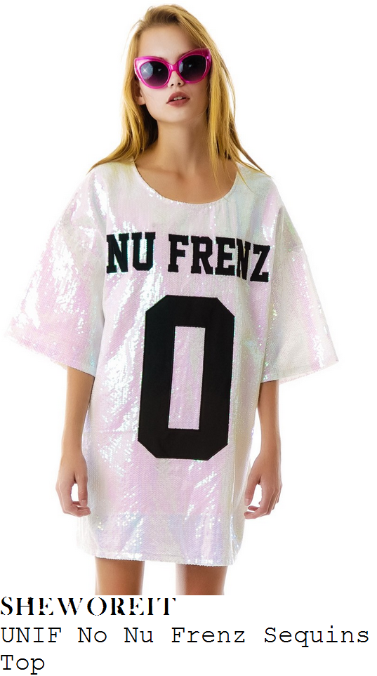 katy-perry-white-pastel-multicoloured-sequin-embellished-no-nu-frenz-slogan-print-oversized-jersey-top-dress-britney-spears-vegas