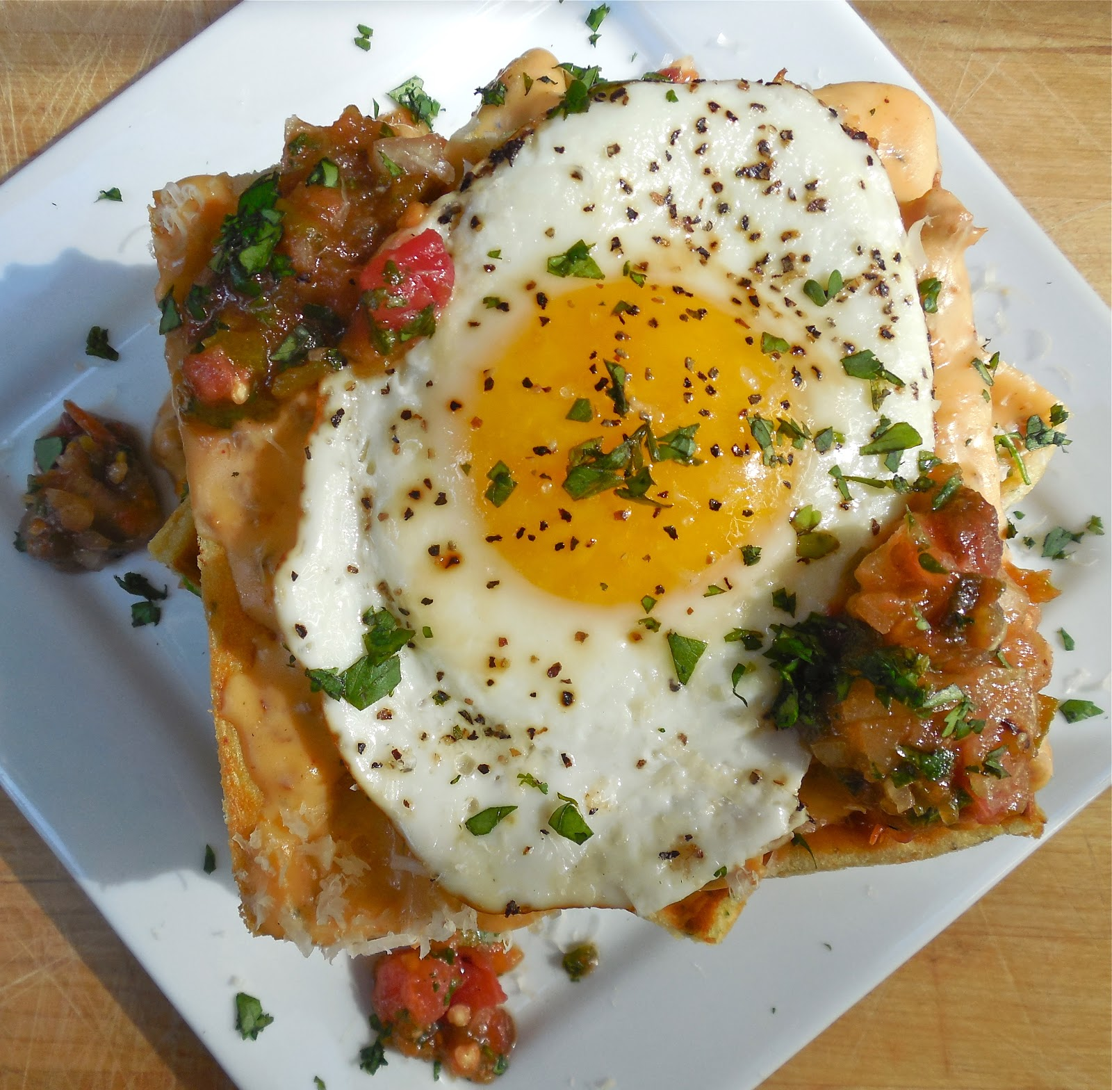 ... Cornmeal Waffles with Chorizo Gravy, Blackened Heirloom Tomato Salsa