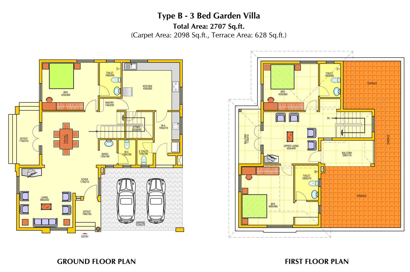 Villa elevation plan and omahdesigns net for Villa designs and floor plans
