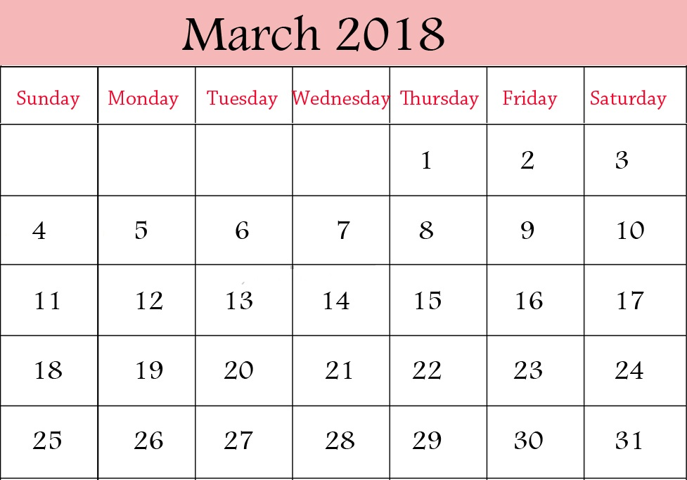March 2018 Printable Calendar Free Blank Calendar Template Get