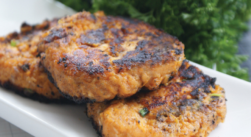 The Twisted Mummy Chronicles: Crispy Salmon Sweet Potato Cakes
