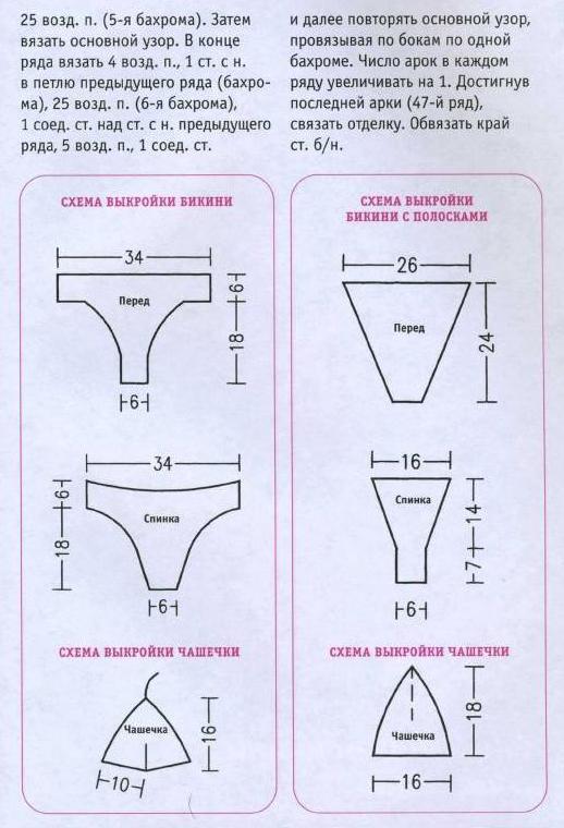 Схема вязания купальника крючком.