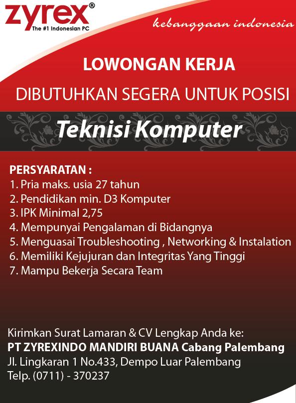 Lowongan Kerja Pt Di Palembang