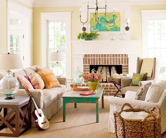 Home interior design for Cottage living room colour schemes