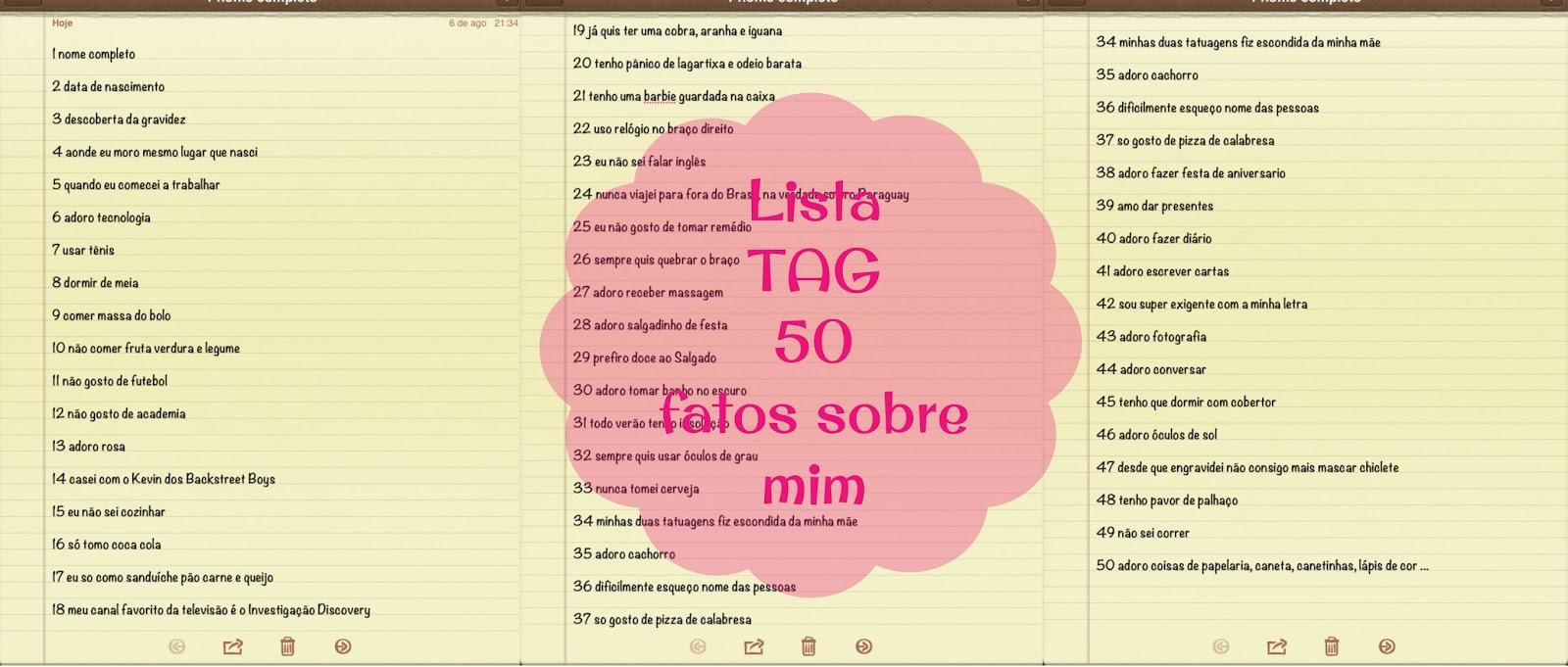 lista para tag 50 fatos sobre mim blog Mamãe de Salto ==> todos os direitos reservados
