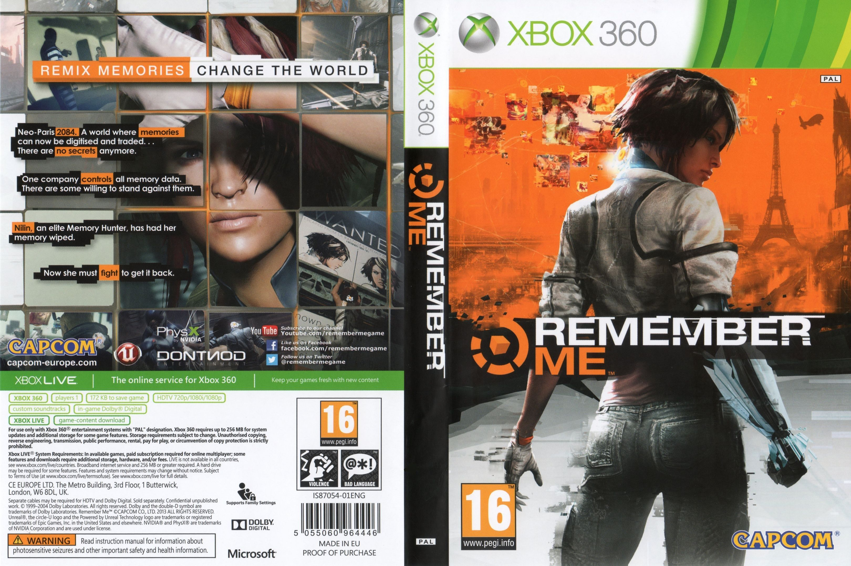 Capa Remember Me Xbox 360