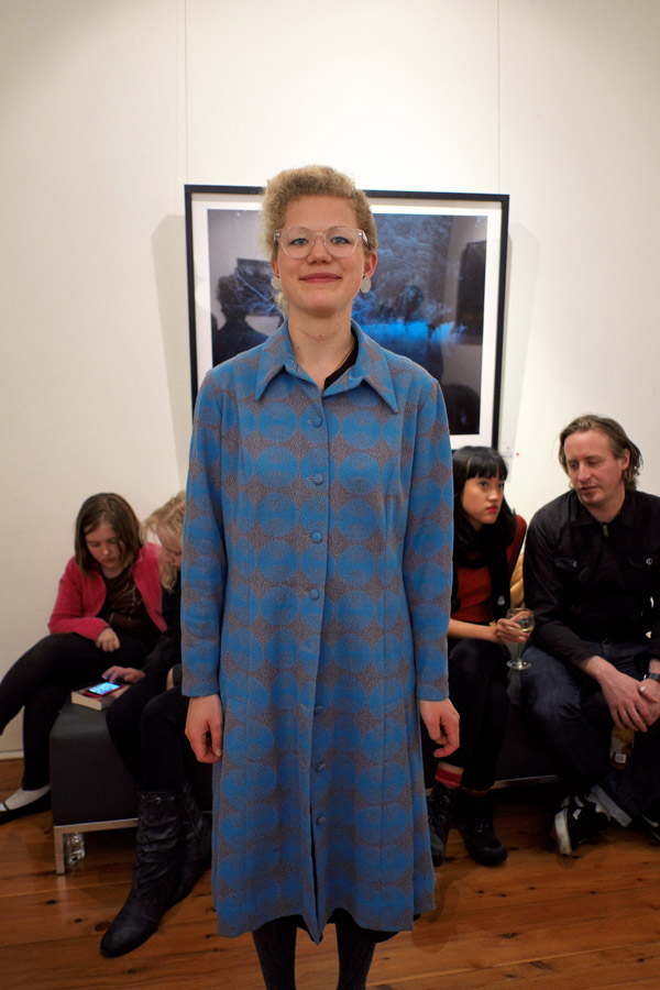 Spotted Blue on Grey coat - Fashion at Dickerson Gallery