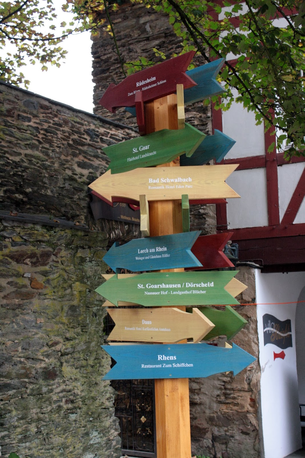 Sign post at Castle Rheinfels - The Tipsy Terrier blog